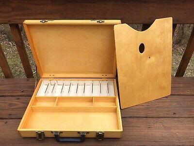Vintage Wood Art Supply Box with Artist's Palette Travel Painting Case