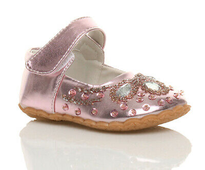 Girls Childrens Kids Baby Hook & Loop Strap Sequin Gem Mary Jane Shoes Size