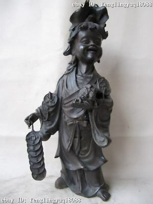 China Folk Old Pure Copper bronze mythical LiuHai Liu Hai Money play Toad Statue
