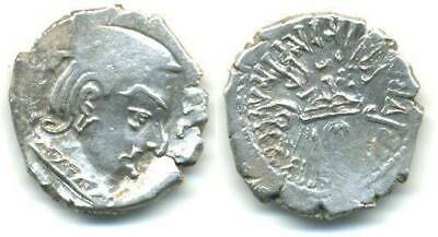 Nice quality silver drachm of Rudrasena II (255-278 AD), Western Satraps, India