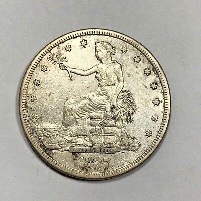 1877-S San Francisco Mint Silver Trade Dollar XF/AU condition East China Trade