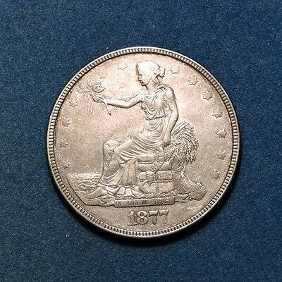 1877 Philadelphia Mint Silver Trade Dollar AU condition East Asia Export China