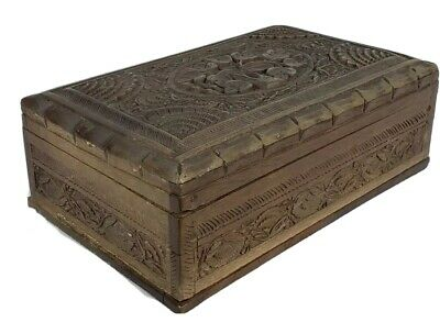 Vintage Ornate Hand Carved Hand Made Wooden Jewelry Chest Box, secret slide lock