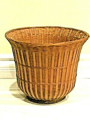 """Beautiful Antique Huge 9.5""""H Hand Med Strow Basket Asian Chinese Or Japanese"""