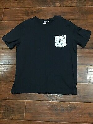 Disney Mickey Mouse Black T-Shirt w// Vintage Pocket by Junk Food Sizes S to 2XL