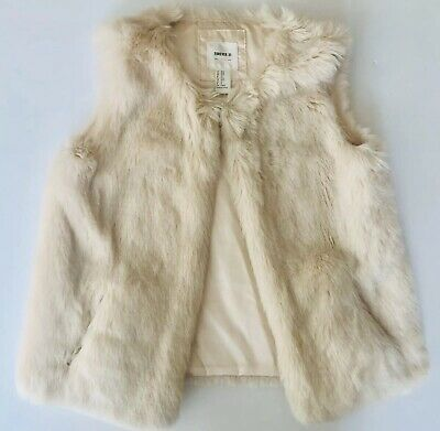 Girls Faux Fur Ivory Cream Vest Size 9/10 - M
