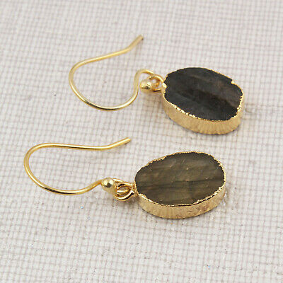 Labradorite Raw Stone Oval Shape Yellow Gold Plated Rough Pair Earrings