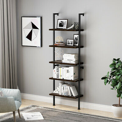 Industrial Wall Mounted 5-Tier Shelving Brackets Storage Bookcase Wall Decor US