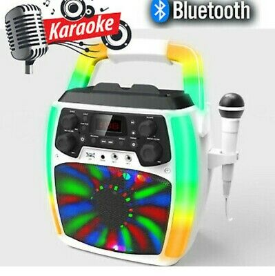 iBright Karaoke Machine Bluetooth Singing Microphone Speaker LED Light Show NEW