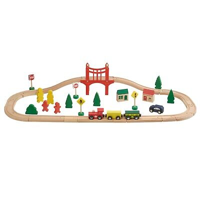 My Play Wooden Toy Train Track Set Kit Kids Children Railway Role Play 40pc Gift
