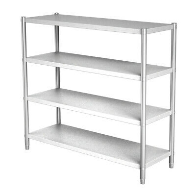 4 Tier Storage Shelving Rack Stainless Steel Catering Kitchen Shelf 150x50x150cm