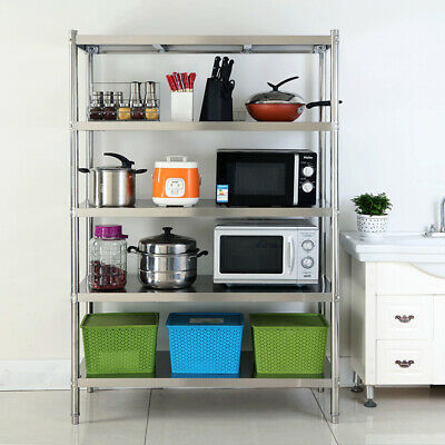 5 Tier Kitchen Shelf Stainless Steel Holder Racking Restaurant Storage Shelving