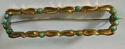 Antique Victorian Turquoise Bead Set Long Pin / Brooch, 8 X 2 Cm