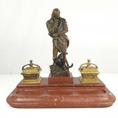 Antique 19th Century Figural Bronze Ink Stand With Rouge Marble Base