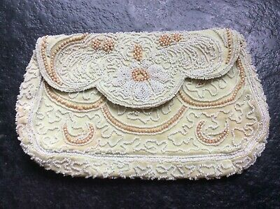 Antique French Beaded Clutch Bag With Original  Label.