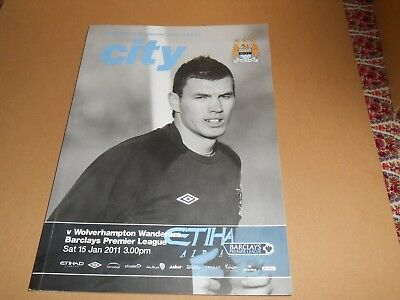 Manchester City vs Wolverhampton Wanderers 15th January 2011 Football Programme