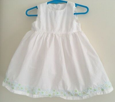 Baby Girls White Mothercare Dress Size 6-9 Months