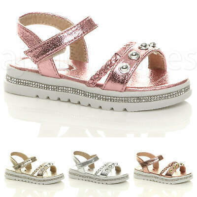 Girls Kids Childrens Low Heel Diamante Strappy Studded Sandals Shoes Size