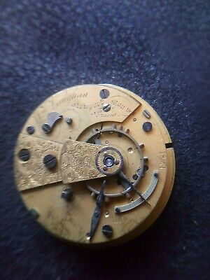Fusee Pocket Watch Movement With Chain Spares Or Repair.