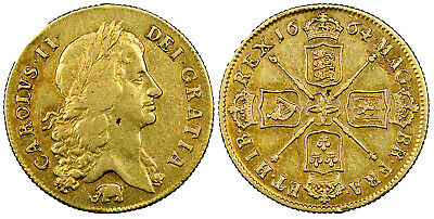 GREAT BRITAIN England Charles II 1664 AV Two Guineas. NGC XF40 SCBC-3334; MCE 32
