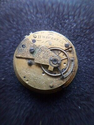 Worcester FUSEE POCKET WATCH MOVEMENT WITH CHAIN SPARES OR REPAIR.