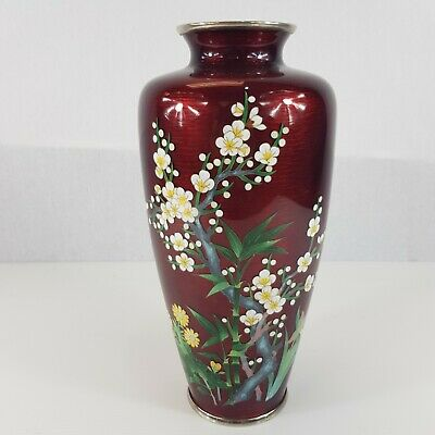 "Large Japanese Sato Style Cloisonne Vase 11"" High Pigeon Blood Cherry Blossom"