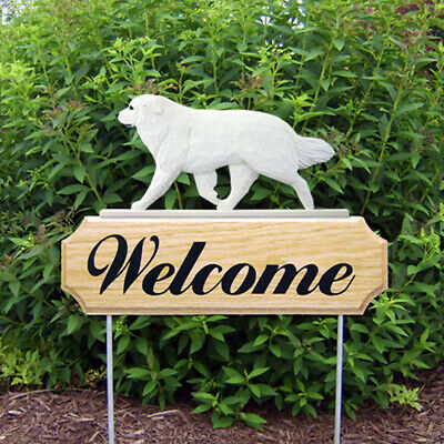 Great Pyrenees Wood Welcome Outdoor Sign