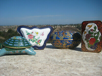 Vintage  Chinese Brass Cloisonne Trinket Boxes Bear Butterfly Flowers Turtle