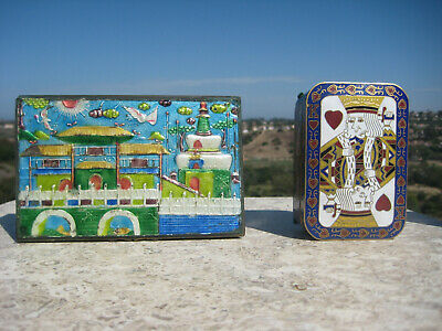 Antique Vintage Beautiful Large Chinese Brass Cloisonne Playing Card Box Lot