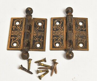 Pair Of Vintage Eastlake Style Hinges Architectural Salvage W/ Orginal Screws