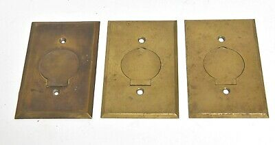 3 Vintage Brass Electical Outlet Floor Plates Architectural Salvage