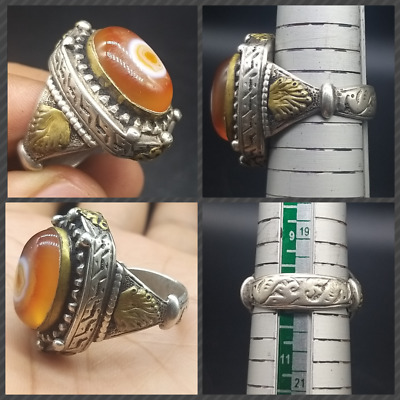 Pure Sliver Very Old Turkman Colloction Jewellery Eye Agte For Broken Magic Ring