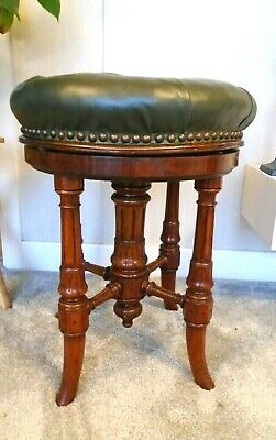 Lovely antique Victorian mahogany & leather foot/piano stool, adjustable height