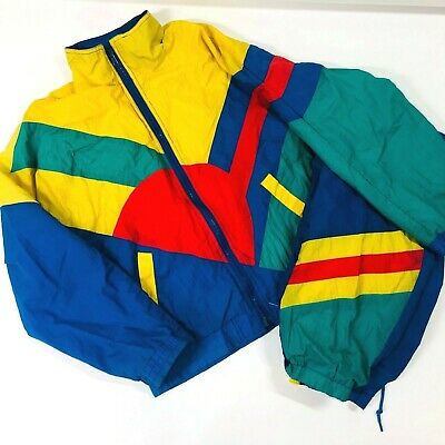 Vintage Casual Time Kids Jersey Lined Swishy Jacket & Pants Primary Colors Track