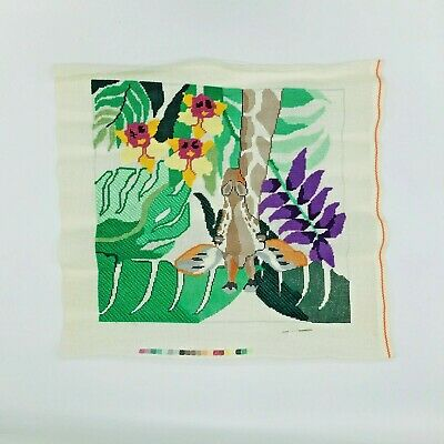Hand Painted Needlepoint Pattern Canvas Giraffe Jean Smith Jungle Floral