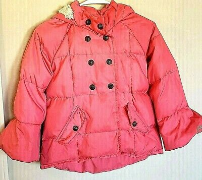Juicy Couture Girls Hooded Winter Jacket Coat Pink Size 12 Faux Fur Trim