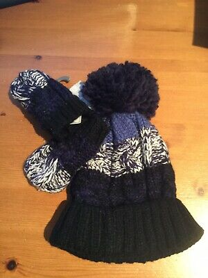 Primark Baby Hat And Mittens 6-12M Nay And White