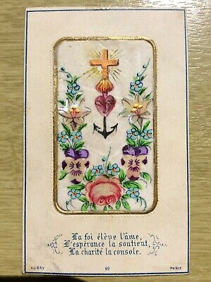 Cross, Flowers, Mother of Pearl ~ Victorian Xmas Card ~ Aubry, Paris (refE2)