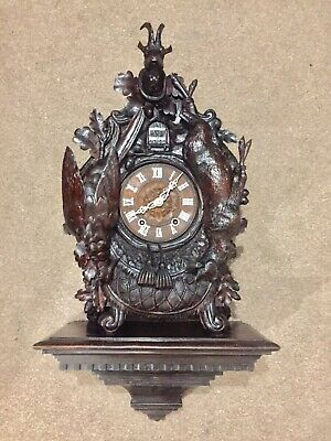 Stunning Antique Heavily Carved Black Forest Twin Fusee Cuckoo Clock By Beha