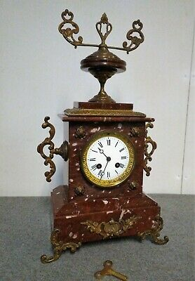 Antique French red marble and bronze mantel clock, table clock - Japy Frères