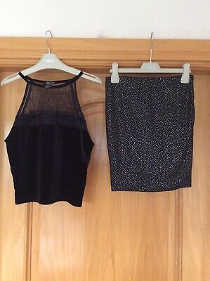 Girls New Look black outfit tube skirt age 10-11 and top 12-13 yrs VGC