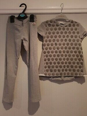Girls grey Moncler Tracksuit top leggings age 7-8 years designer bundle outfit