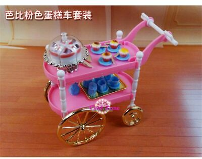 Doll Hotel Food Cart Trolley Play Set For Barbie 1:6 Doll House Furniture Gift