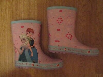 girls wellies Disney Frozen wellington boots TU Sainsbury size 2 Anna Elsa