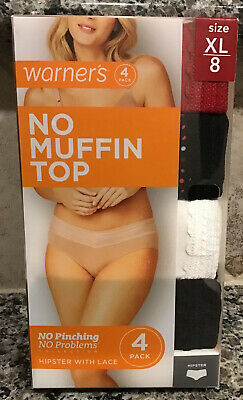 """WARNER'S Panties """" The Lace Hipster"""" 4 Pack  No Pinching-Sz. 8 XL New In box"""