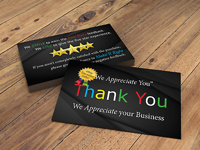Thank you cards for eBay seller, printed both side, Fast Free Shipping (100)