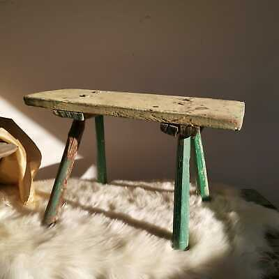 Antique Hand-Carved Green Wooden Milking Stool or Small Table, Vintage Farmhouse