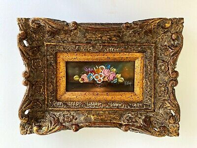 Antique miniature oil painting on board with hand carved  wooden frame