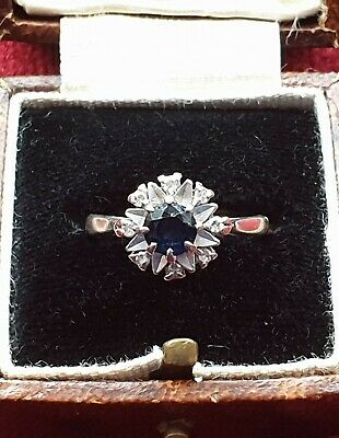Antique Large Blue Sapphire Diamond  18CT White GOLD Ring Flower Daisy K 1/2 5 1