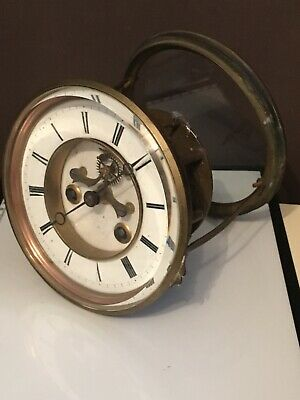 Antique Bell Striking French Clock Movement Open Escapement Dial Hands Rear Door